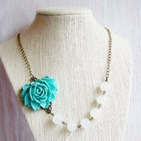 Flower necklace - teal rose bib necklace, white crystal beads, nature jewelry, vintage inspired