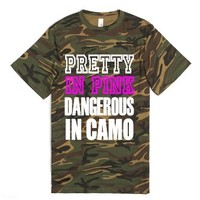 Pretty In Pink Dangerous In Camo - Country Tshirt-Green T-Shirt