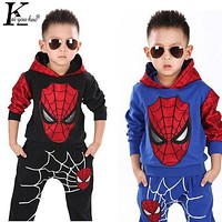 Spiderman Clothes Sets Coat+Pants 3-7 Years