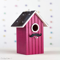 Cherry Wooden Birdhouse - Hanging Bird Nest - Wedding - Engagement Party - Moustashe Baby Shower Decoration, Hostess Gift - Dorm Decor
