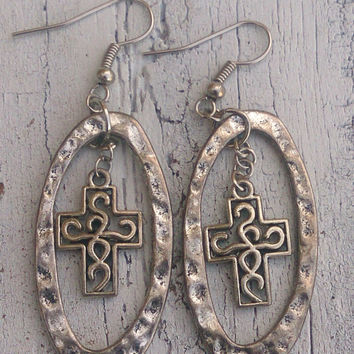 Antique Silver Cross Earrings Religious Christian Jewelry Nickel Free