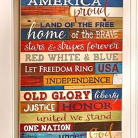 American Pride Americana Wall Art Plaque Patriotic Primitive Home Decor