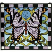 Meyda Tiffany Butterfly Stained Glass Window - 46464 - Decor