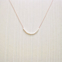 Tiny Pearl Necklace - Silk Cord, Pearls, and Sterling Silver