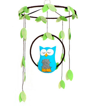 Musical Owl mobile - woodland - baby mobile - cyan, gray, green - nursery decor - MADE TO ORDER