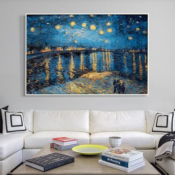 07G Impressionist Painter Van Gogh Rhone Riverside Night A4 A3 A2 Canvas Art Painting Print Poster Picture Home Wall Decorative