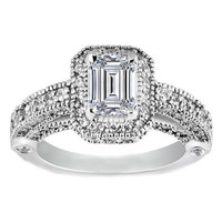 Engagement Ring - Emerald Cut Diamond Legacy Style Engagement Ring in 14K White Gold 1.05 tcw. - ES129EC