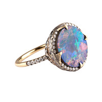 Yellow Gold Round Opal Diamond Ring