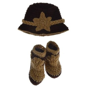 Crochet Cowboy Hat and Boots Baby Photography Clothes Prop