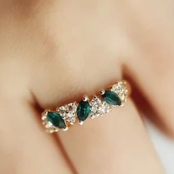 2 pcs/set(gold/silver) fashion crystal Sweet ancient ways Emerald female sparking Rhinestone statement ring = 1668754756