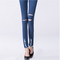 Denim Blue Cut Ripped And Frayed Skinny Pants
