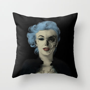 Screwed and Tattooed, Rockabilly Marilyn.  Throw Pillow by Kristy Patterson Design