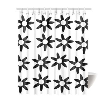"Floral White/Black Shower Curtin Shower Curtain 69""x84"""