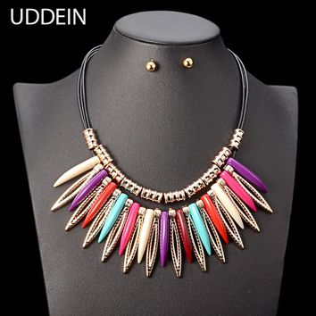 UDDEIN Bohemian Necklace Sets Color Plastic Gem Statement Necklace & Pendant Vintage Chokers Collar  African Beads Jewelry Set