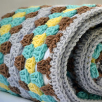 Fun at the zoo crochet baby blanket, granny square reversible crochet baby blanket
