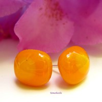Daffodil Nugget Bright Yellow Handmade Fused Glass Post Earrings