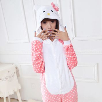 Cute Piajama Movie Cheshire Cat Hello Kitty Sleepsuit Adults Cartoon Unisex Onesuits Pajamas Cosplay Costumes Plus Size As XXL