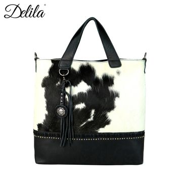 Delila 100% Genuine Leather Hair-On Hide Collection Tote/Crossbody