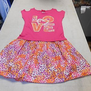 Together Forever Girl's Dress, Pink/Cheetah Print, X-Large (14-16)