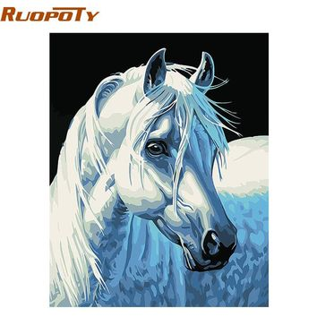 RUOPOTY diy frame DIY Painting By Numbers Kits white horse Animals Home Wall Art Canvas Hand Painted Oil Painting  40x50