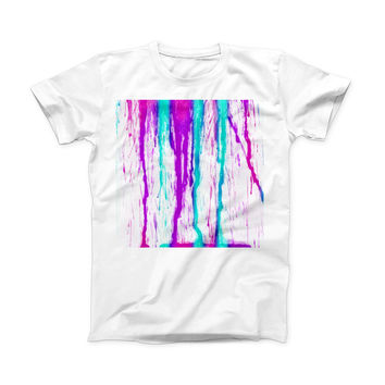 The Running Purple and Teal WaterColor Paint ink-Fuzed Front Spot Graphic Unisex Soft-Fitted Tee Shirt