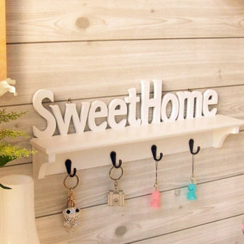Retro White Sweet Home Decor Wood Clothes Hat Bag Hangers Hook Wall Mounted