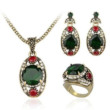 SHIP BY USPS: EVERRICH Boho High-grade Alloy Necklace Ring Earrings Beach Wedding Jewelry Sets for Brides Jewelry Sets,3 Pairs