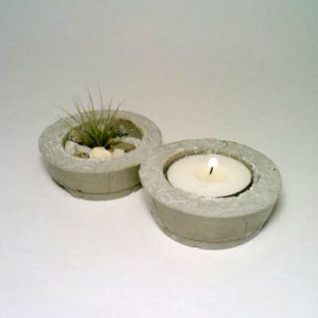 Concrete Air Plant Holder, Tea Light Holder,  TWO Tillandsia Holders, Candle Holder, Flower Pot