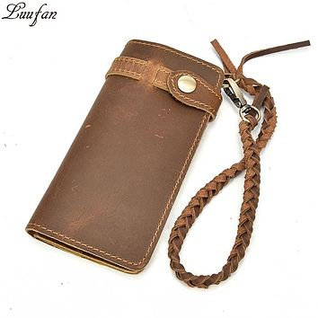 Vintage Crazy Horse leather men long wallet Open large capacity zipper coin purse genuine leather chain clutch men wallets