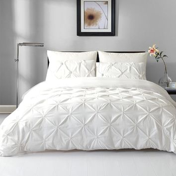 2018 elastic embroidery pleated style new trendy queen and king Pillow cover off white grey  pillowcases duvet cover set
