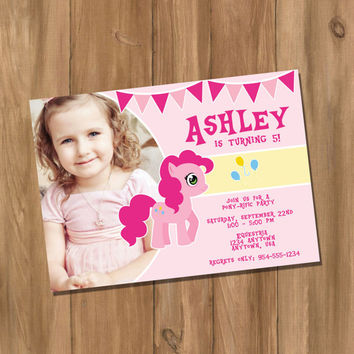 My Cute Pony My Little Pony Pinkie Pie Inspired Birthday Party Invitation with Photo (Digital - DIY)