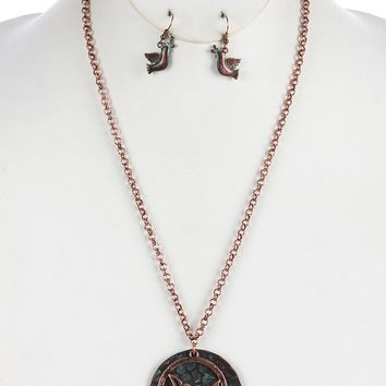 Brown Aged Finish Metal Cutout Dove Pendant Necklace And Earring Set