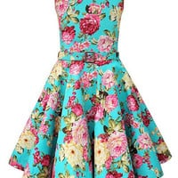 Vintage Sleeveless Floral Printed Pin Up Dress