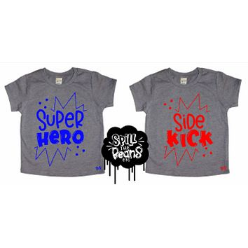 Super Hero or Sidekick Sibling Pregnancy Announcement Bodysuit or Kids Tee