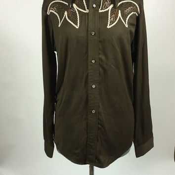 Vintage 1970's Men's Brown Western Shirt With Embroidery