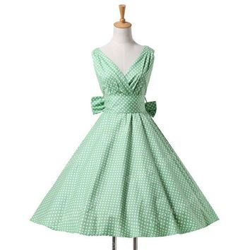 DCCKHTG 60s Retro Plunge Candy Color Pin Up Vintage Dress