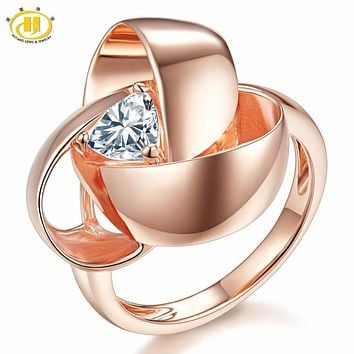 HUTANG Natural White Topaz Solid 925 Sterling Silver Rose Gold-color Eternity Flower Ring Gemstone Fine Jewelry Women Best Gift