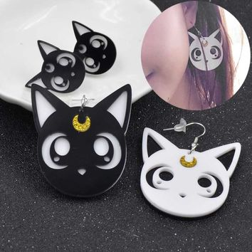 1 Pair Acrylic Ainme Sailor Moon Luna Cat Earrings Ear Stud Black White Beauty