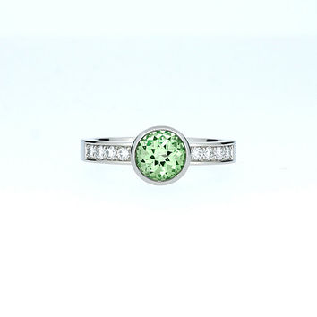 Green beryl solitaire engagement ring, white gold ring, diamond engagement, beryl ring, bezel, white gold ring, unique, green, custom