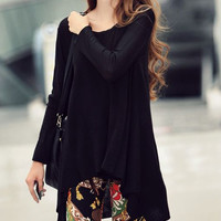 Stylish Scoop Neck Loose-Fitting Long Sleeve Black T-shirt For Women