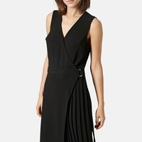 Women's Topshop 'Jenna' Pleated Wrap Midi Dress,