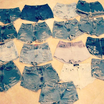 Custom Made High Waisted Denim Shorts Jean Shorts Hipster Tumblr Grunge