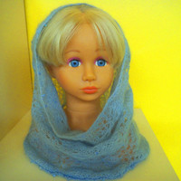 SALE! Hand knit Mohair silk cowl, silky shawl, Light blue cowl, neck warmer, gift for her, hooded scarf, valentine's day gift