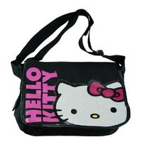 FAB Starpoint Little Girls'  Hello Kitty Big Face Messenger, Black/Pink, One Size