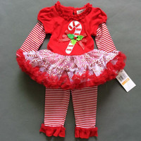 Newborn Infant Baby Girls Toddler Christmas Set Clothes Red Long Sleeve Striped Outfits Clothing