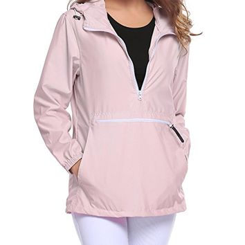 Women's Rain Jacket Front Pocket Windproof Waterproof Hooded Pullover