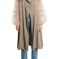 Tu es mon TRÉSOR Rose Embroidered Tulle Sleeve Trench Coat | Nordstrom