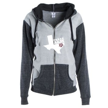 Official NCAA Texas A&M University Aggies - TAMPRD02 Womens Color Block Kangaroo Pocket Zip-Up Hoodie
