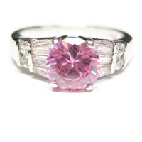 Sterling Pink Sapphire and White Zircon Ring Sz 8
