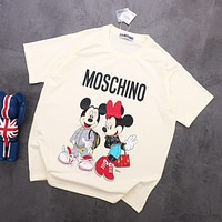 MOSCHINO Newest Trending Women Men Stylish Mickey Print Round Collar T-Shirt Top Beige